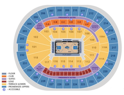 Seating maps amway center